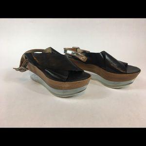 614372db67 Attilio Giusti Leombruni Shoes - AGL Leather & Lucite Platform Wedge Sandals